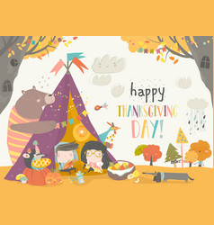 cute kids celebrating thanksgiving day vector image