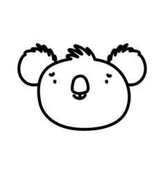 cute koala face animal cartoon character on white vector image