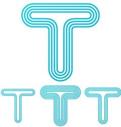Cyan line t logo design set vector image