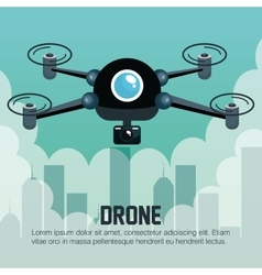 Drone flying city graphic vector