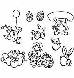 Easter chickens and rabbits vector