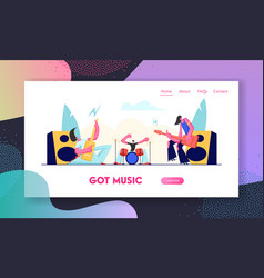 electric guitarists and drummer performing music vector image