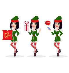elf woman set of three poses vector image