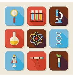 Flat Science and Education Squared App Icons Set vector image