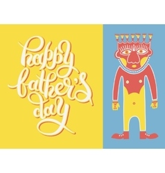 greeting card template for Father Day with hand vector image