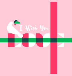 greeting card with i wish you love lettering vector image