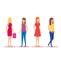 group of girls avatars characters vector image