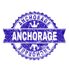 Grunge textured anchorage stamp seal with ribbon vector