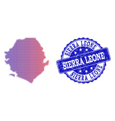 Halftone gradient map of sierra leone and vector