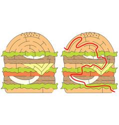 Hamburger maze vector