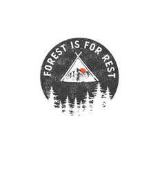 Hand drawn wilderness badge with mountain vector