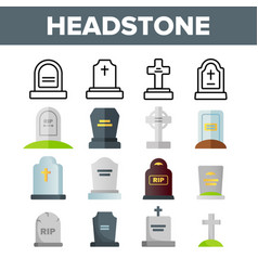 Headstone gravestone tombstone color vector