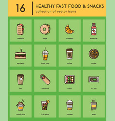 Healthy fast food colorful icons vector