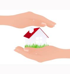 Home in hands vector image