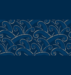 Huge ocean waves waves ethnic style pattern vector