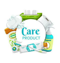 Hygiene health care products round frame vector