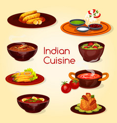 indian cuisine food thali dish and desserts vector image
