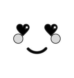 kawaii happy heart eyes facial expression icon vector image
