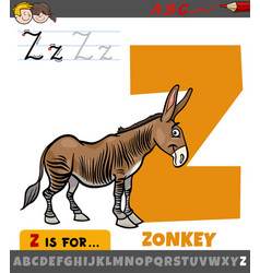Letter z from alphabet with cartoon zonkey animal vector