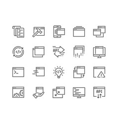 Line application icons vector