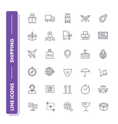 line icons set shipping vector image