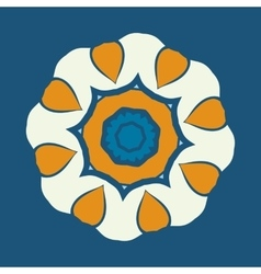 Mandala ornament over blue background Decorative vector image