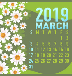 March 2019 calendar template with abstract vector