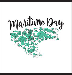 Maritime day sea animals images vector