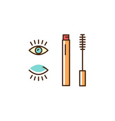 mascara icon decorative eye makeup thin line art vector image