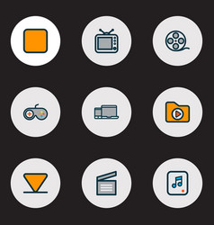 media icons colored line set with dossier arrow vector image