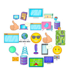 memory array icons set cartoon style vector image