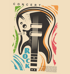 music event flyer idea with guitar graphic vector image