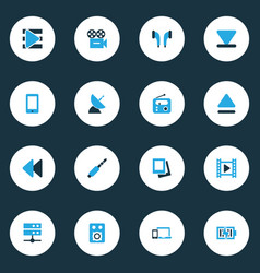 Music icons colored set with eject gallery vector