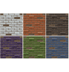 old brick wall seamless background set vector image