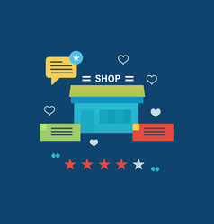 online shopping review and ratings work of store vector image