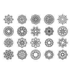 Ornamental floral circular mehndi set vector