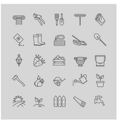 Outline icons set - gardening tools flowers vector