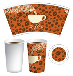 paper cup template for hot drink with coffee cup vector image