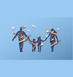 Papercut family holding hands with bird tree vector