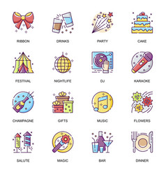 party entertainment flat icons set vector image