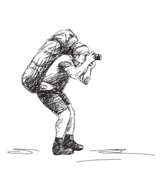 Photographer backpacker vector