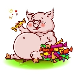 pig eats a lot of sweets vector image