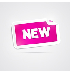 Pink Sticker with New Title on Grey Background vector image