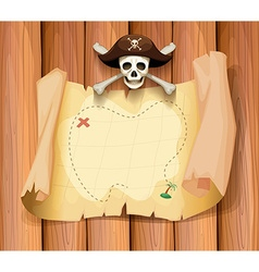 Pirate skull and a map on the wall vector image
