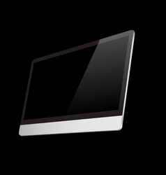 realistic computer black screen isolated on black vector image