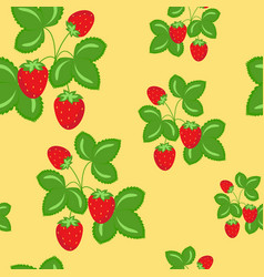 ripe wild strawberries seamless pattern vector image