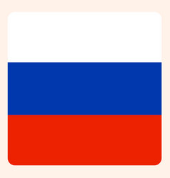 russian federation square flag button social vector image