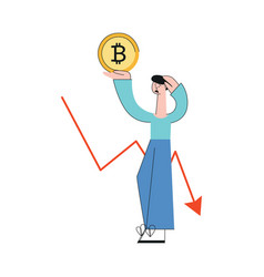 sad man bitcoin decrease trend flat vector image