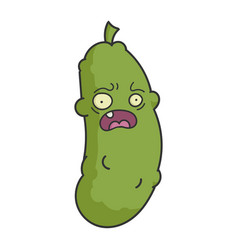 Scared silly dill pickle cartoon vector