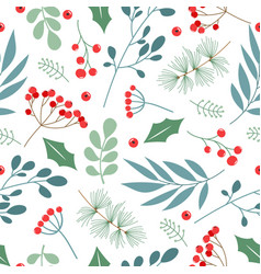 seamless pattern with branches leaves vector image
